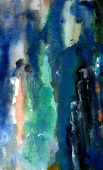 Menschen, Blau, Gesicht, Malerei