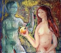 Abstrakt, Blau, Akt, Pastellmalerei