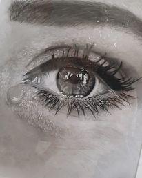 Schwarzweiß, Weinen, Augen, Zeichnung