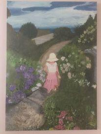 Wasser, Blumengarten, Mädchen, Acrylmalerei