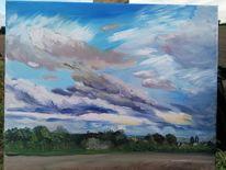 Feld, Wolken, Wind, Himmel