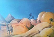 Ölmalerei, Menschen, Wüste, Traum