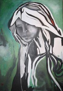 Grün, Portrait, Acrylmalerei, Malerei