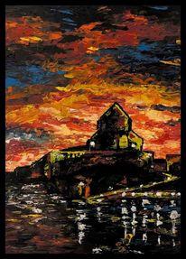 Landschaft, Farben, Ölmalerei, Malerei