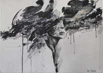 Frau, Farben, Acrylmalerei, Malerei