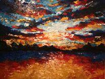 Landschaft, Meer, Malerei, Sonnenuntergang