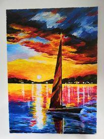 Farben, Boot, Meer, Malerei