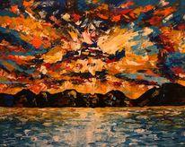 Meer, Acrylmalerei, Sonnenuntergang, Berge