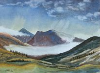 Nebel, Berge, Herbst, Aquarell