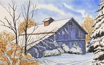 Baum, Scheune, Winter, Schnee