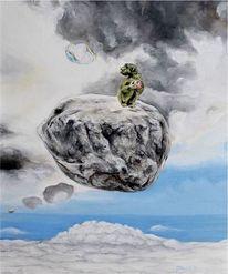 Affe, Apfel, Seifenblasen, Wolken