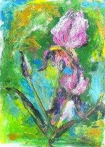 Malerei pflanzen, Blau, Pflanzen, Grün