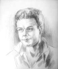 Mann, Portrait, Portraitzeichnung, Weiß