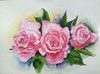 Drei rosen, Aquarellmalerei, Blumen, Rose