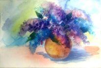 Aquarell stillleben, Vase, Blau, Blumen