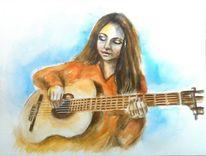 Mädchen, Musikinstrument, Konzert, Aquarellmalerei
