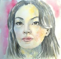 Gesicht, Portrait, Frauenportrait, Aquarellmalerei