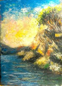 Spachteltechnik, Felsen, Landschaftsmalerei, Meer