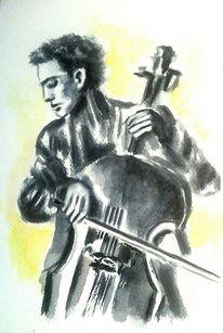 Mann, Cello, Aquarell menschen, Musik