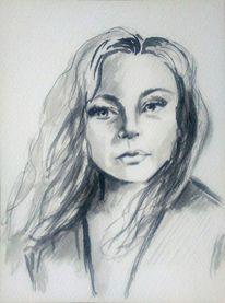 Augen, Portrait, Tuschezeichnung, Frau