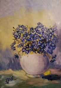 Acrylmalerei, Blumen, Kornblumen, Vase