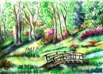 Landschaft, Grüne natur, Wiese, Aquarell landschaften