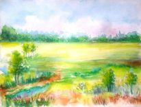 Baum, Acrylmalerei, Himmel, Landschaft