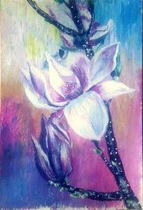 Magnolien, Acrylmalerei, Natur, Magnolienblüte