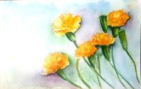 Blumen, Aquarellmalerei, Pflanzen, Nelke