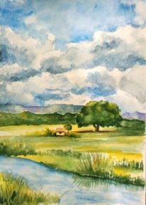 Wiese, Aquarellmalerei, Landschaft, Hütte