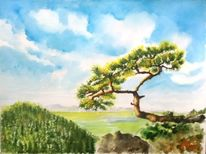 Kiefer, Aquarellmalerei, Berge, Landschaft