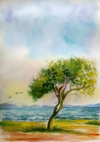 Baum, Aquarellmalerei, Meer, Landschaft