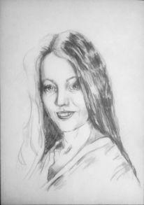 Gesicht, Bleistiftzeichnung, Portrait, Frauenportrait