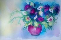 Blau, Natur, Vase, Aquarellmalerei