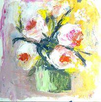Abstrakte malerei, Spachteltechnik, Acrylmalerei, Gelb