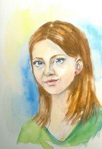 Aquarellmalerei, Aquarell portrait, Blau, Mädchen