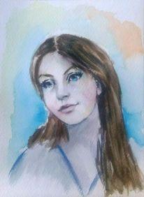 Aquarellmalerei, Frau, Portrait, Frauenportrait