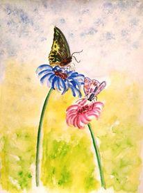 Grün, Schmetterling, Aquarellmalerei, Blumen