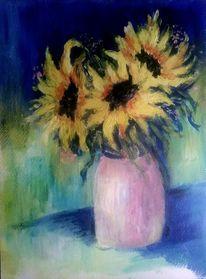 Acrylmalerei, Rosa, Sonnenblumen, Malerei stillleben