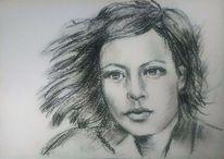 Schwarz, Frau, Portraitzeichnung, Hübsch