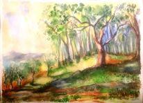Aquarellmalerei, Blumen, Gelb, Landschaft