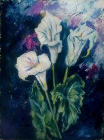 Blumenstrauß, Malerei, Weiß, Spachteltechnik