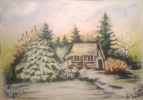 Winter, Wald, Aquarellmalerei, Winterlandschaft