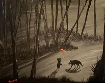 Landschaft, Schwarz, Wald, Acrylmalerei