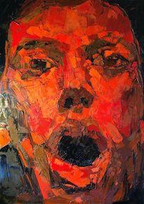Rot, Abstrakt, Portrait, Modern malerei