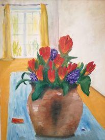 Blumen, Tulpen, Vase, Malerei