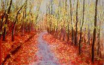 Blätter, Weg, Baum, Herbst