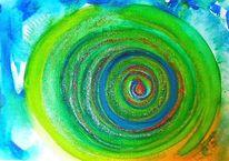 Aquarellmalerei, Grün, Geist, Spirale
