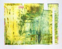 Abstrakt, Gelb, Acrylmalerei, Grün