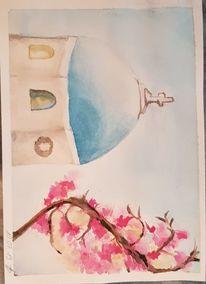 Griechenland, Blumen, Aquarellmalerei, Aquarell